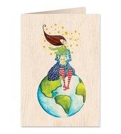Karnet drewniany C6 + koperta Podróże