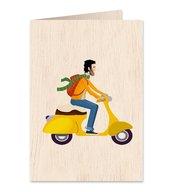 Karnet drewniany C6 + koperta Mężczyzna skuter