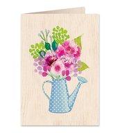 Karnet drewniany C6 + koperta Kwiaty w konewce
