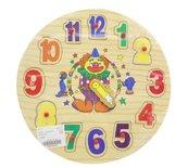 Układanka drewniana zegar z pinezkami