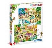 Puzzle 2x60 Super kolor Zoo