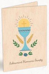 Karnet drewniany C6 Komunia kielich + koperta