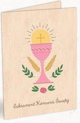 Karnet drewniany C6 Komunia kielich róż + koperta