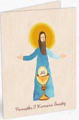 Karnet drewniany C6 Komunia Jezus + koperta