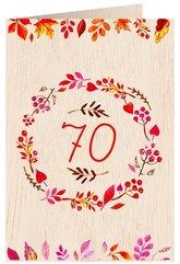 Karnet drewniany C6 + koperta Urodziny 70