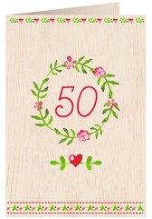 Karnet drewniany C6 + koperta Urodziny 50