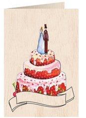 Karnet drewniany C6 + koperta Ślub tort