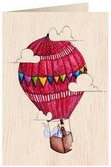 Karnet drewniany C6 + koperta Ślub balon