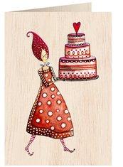 Karnet drewniany C6 + koperta Kobieta z tortem