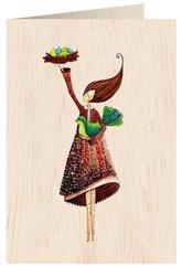 Karnet drewniany C6 + koperta Kobieta z ptaszkiem