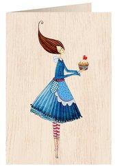 Karnet drewniany C6 + koperta Kobieta z ciastem