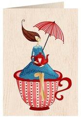 Karnet drewniany C6 + koperta Kobieta w filiżance
