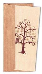 Karnet drewniany DL z drewnianą kopertą Drzewo