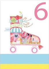 Karnet B6 brokat z kopertą Urodziny 6 dziewczynka