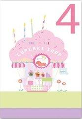 Karnet B6 brokat z kopertą Urodziny 4 dziewczynka