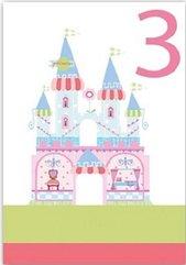 Karnet B6 brokat z kopertą Urodziny 3 dziewczynka
