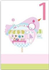 Karnet B6 brokat z kopertą Urodziny 1 dziewczynka