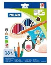 Kredki ołówkowe trójkątne 18 kolorów MILAN
