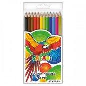 Kredki ołówkowe 12 kolorów Safari