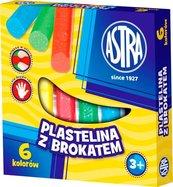 Plastelina z brokatem 6 kolorów ASTRA