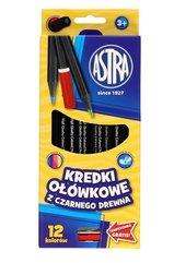 Kredki ołówkowe czarne 12 kolorów ASTRA