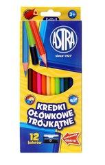 Kredki ołówkowe trójkątne 12 kolorów ASTRA