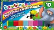 Plastelina kwadratowa 10 kolorów BAMBINO