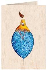 Karnet drewniany C6 + koperta Kobieta na balonie
