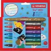 Flamastry Trio Deco 8 kolorów STABILO