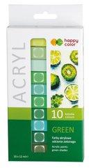 Farba akrylowa 12ml 10 kol zielony HAPPY COLOR