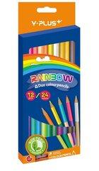 Kredki dwustronne Rainbow + temperówka 24 kol