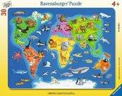 Puzzle 30 Mapa Świata zwierząt