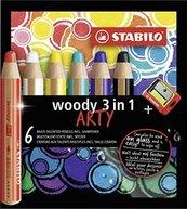 Kredki Woody Arty 3w1 6 kol + temperówka STABILO
