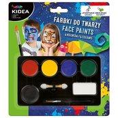 Farby do malowania twarzy 6 kolorów x 3,4g KIDEA