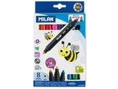 Flamastry Bicolor 8szt-16 kolorów MILAN