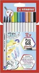 Flamastry Pen 68 brush 12 kolorów STABILO