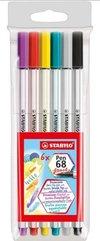 Flamastry Pen 68 brush 6 kolorów STABILO