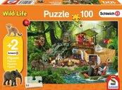 Puzzle 100 Schleich Stacja badawcza + 2 figurki G3