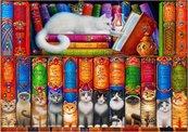 Puzzle 1000 Półka pełna kotów