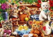 Puzzle 1000 Małe kotki w szopie