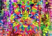 Puzzle 1000 Cudowny, kolorowy kot