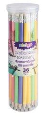 Ołówki pastelowe HB z gumką (36szt) STRIGO