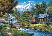 Puzzle 2000 Chatka nad rzeką w górach