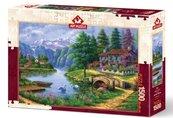 Puzzle 1500 Chatka nad jeziorem w górach