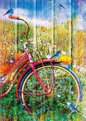 Puzzle 1000 Czerwony rower z ptakami