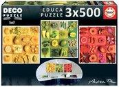 Puzzle 3x500 Kwiaty, owoce, warzywa G3