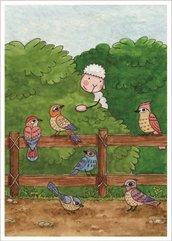 Pocztówka z kolorowanką - Spójrzcie na ptaki