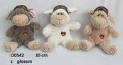 Owca z głosem 30cm w czapce pilotce mix kolorów 139092 cena za 1 szt