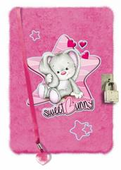 Pamiętnik pluszowy z kłódką różowy króliczek
