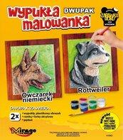 Wypukła malowanka Psy - Owczarek + Rottweiler